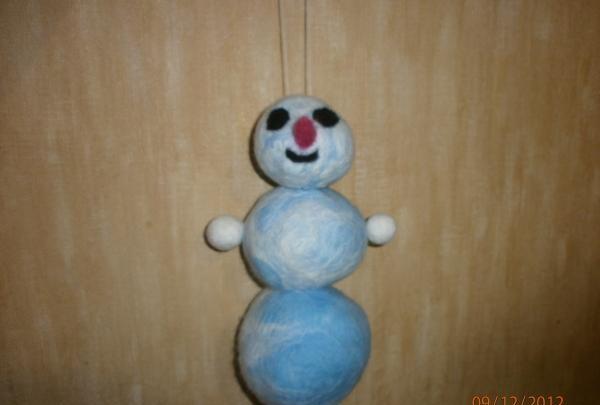 Felted wool snowman