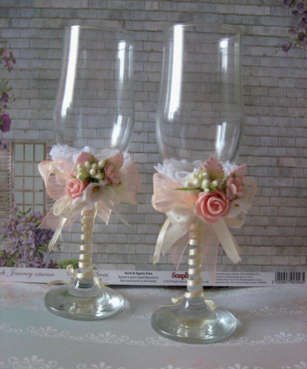 Vestuvių taurių dekoras