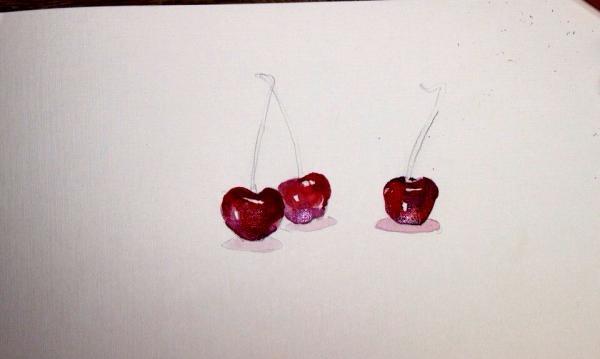 Sådan tegnes et kirsebær i akvarel