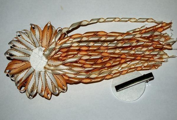 Saten kurdele denizanası saç tokası