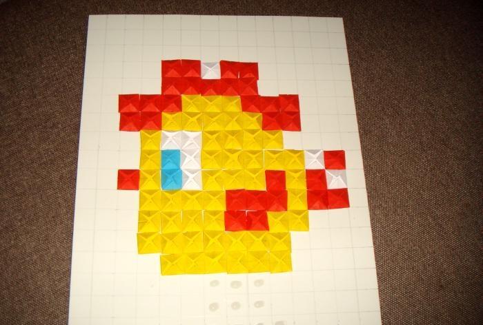 Origami mosaic cockerel