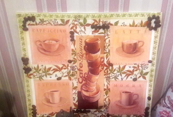 obraz kawy decoupage