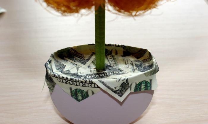 Topiary af sisal og penge