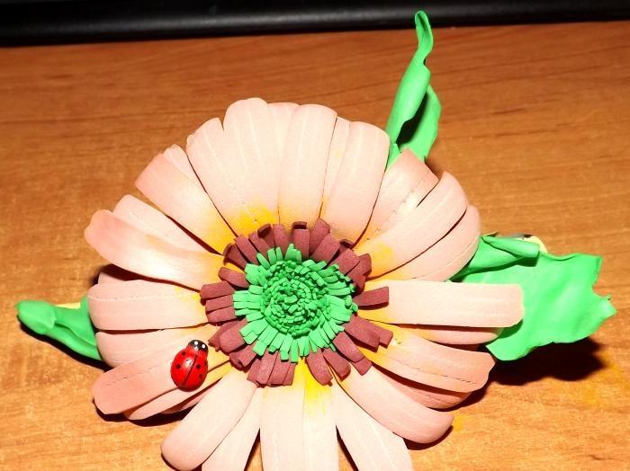 foamiran gelen çiçekli saç tokası