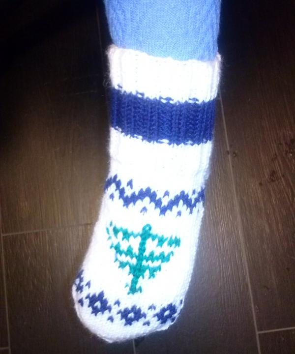 Children's socks with a Norwegian ornament
