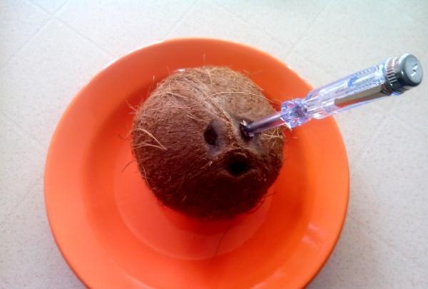 nucă de nucă de cocos străpunsă cu o șurubelniță