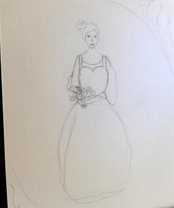 ร่างของการวาดภาพในอนาคตบนกระดาษ