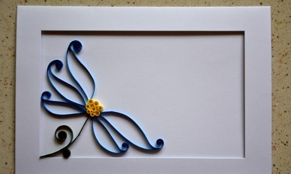Carte poștală Quilling fluture pe o floare