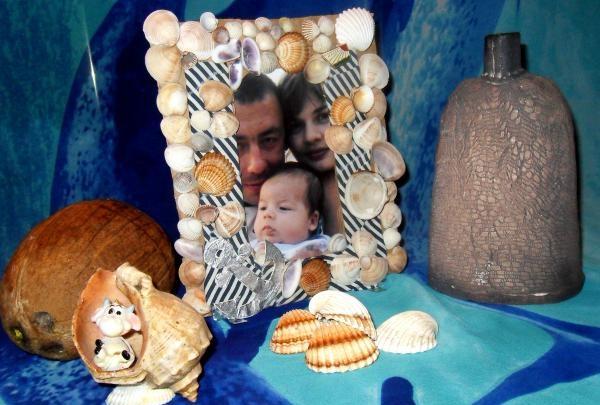 Cadru foto din țesătură și coajă de mare