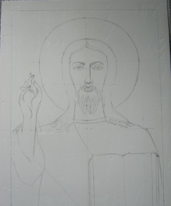 วาดภาพวาดของพระเยซูด้วยดินสอ