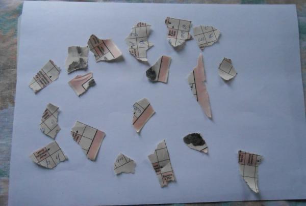 tear e into small pieces