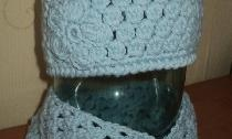 Hæklet sæt - hatte og tørklæde