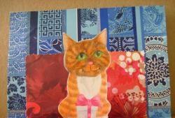 Ευχετήρια κάρτα με ογκομετρική γάτα