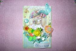 El yapımı süslemeleri ile Paskalya kartı