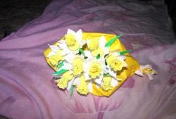 Bouquet of daffodils from corrugated paper