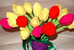 Bouquet of tulips from corrugated paper