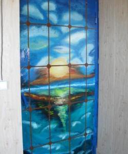 Rysujemy zachód słońca nad morzem i dekorujemy stare drzwi