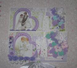 El yapımı mor düğün zarfları