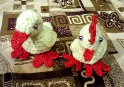 Crocheted chicken and duckling