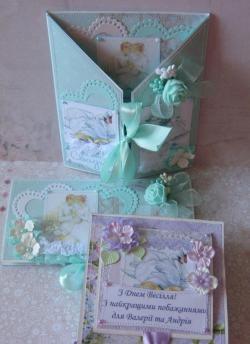 ชุดของขวัญแต่งงานการ์ดพับและซองเงินสด