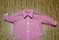 We sew a shirt for the baby from mom's blouse