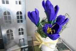 Bouquet of crocuses from corrugated paper