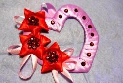 Обемна валентина от сатенена панделка