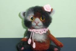 Geantă cu cheie - pisică din lână reperată