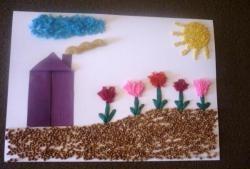 İplik, tahıl, makarna parçalarından el sanatları