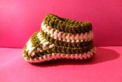 Crocheted booties for a newborn