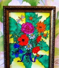 Farvet glasbillede med en buket blomster