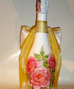 Decoupage champagne flasker