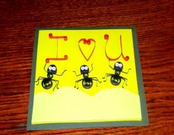 Greeting card with ants