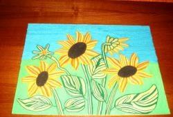 """Pictura """"Floarea-soarelui"""" în tehnica nitkografiei"""