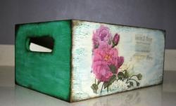 Drewniane pudełko do decoupage