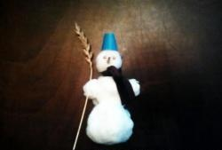 Cheerful snowman made of cotton