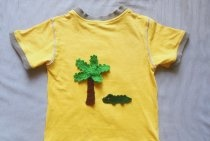 Apliques tropicais para camiseta de verão em crochê