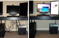 Ukryj przewody pod biurkiem komputera