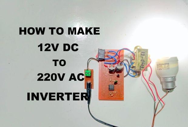 Invertor simplu 12V - 220V 50Hz