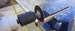 Cutting nozzle on a drill from a disc of a grinder