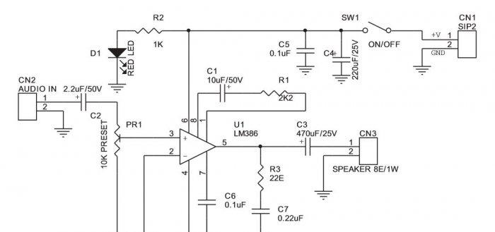 Circuito amplificador no LM386