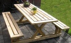 Маса с пейки за градината