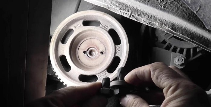 Broken off crankshaft pulley screw