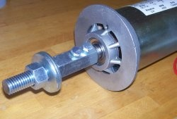 Homemade flange on an electric motor shaft