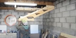 How to make hanging shelves in a garage or workshop that do not take up space