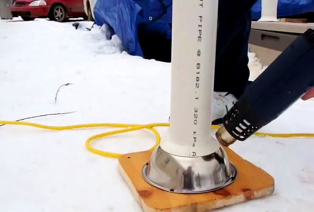 How to make a funnel skirt at the end of a PVC pipe
