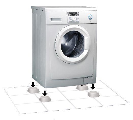 Wir wählen Stützen für die Beine der Waschmaschine - schwingungsdämpfend, stoßdämpfend, Gummi