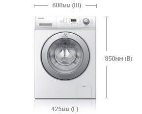 מידות מכונת הכביסה - מידות: גובה, רוחב, עומק
