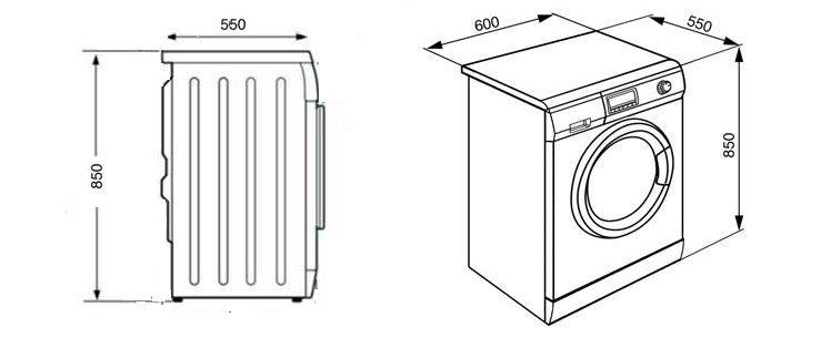 размери на пералната машина за предно зареждане