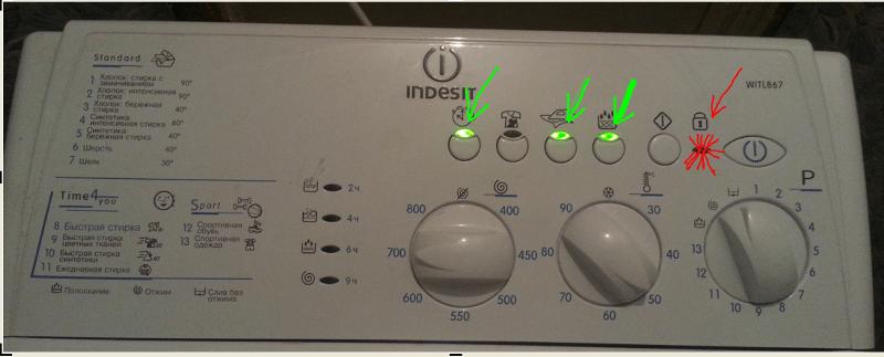 Indesit контролен панел на пералната машина